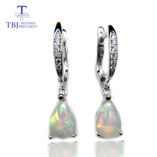 цена на TBJ,Natural rainbow ehiopian opal dangle earring in 925 sterling silver simple elegant gemstone jewelry for girls with gift box