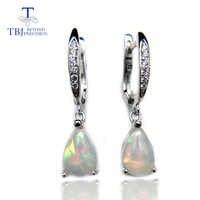TBJ, naturalne rainbow ehiopian opal dynda kolczyk w 925 sterling silver proste elegancki kamień biżuteria dla dziewczyn z szkatułce