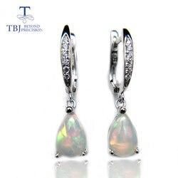 TBJ, pendiente colgante de ópalo ehiopian arcoíris Natural en plata de ley 925, joyería gema elegante simple para niñas con caja de regalo