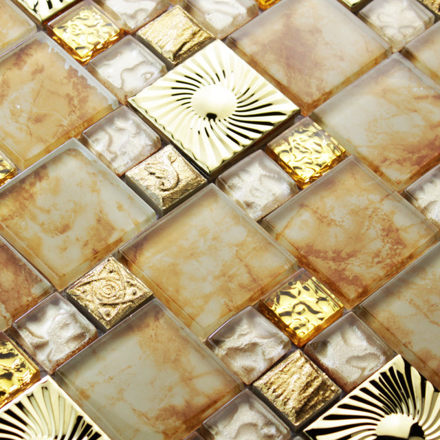 Gold glass mosaic tiles kitchen backsplash tile bathroom wall art ...