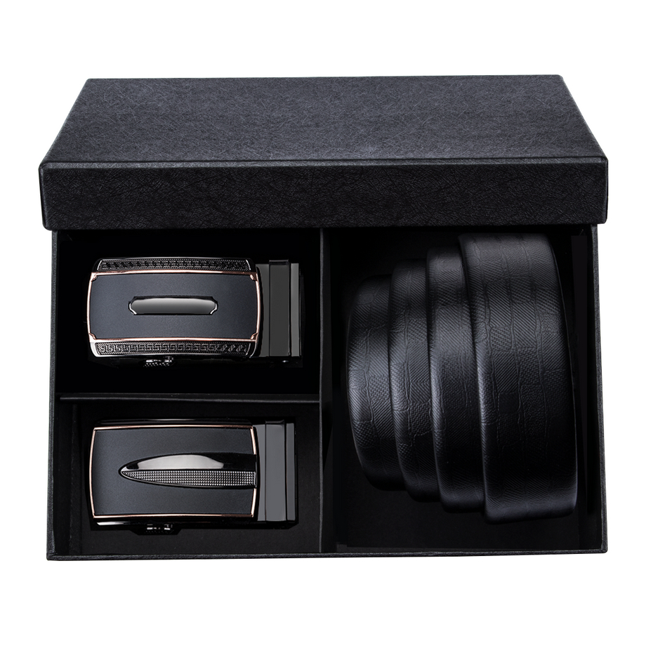 High Quality Automatic Buckle Men's   Belt   Genuine Cow Leather Gift Box Set   Belts   for men 3.5cm Wide Waistband Strap Black DK3234