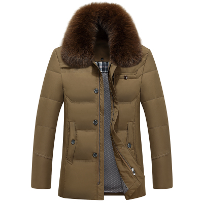 Mens winter coats duck down padded warm wadded parka for father big size with natural real fox collar made jacket xxxl 2xl 3xl