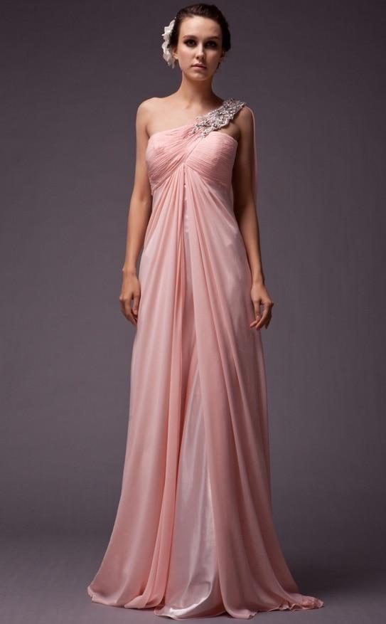2016 New Hot Sale Sexy One Shoulder Beading Chiffon Floor Length Peach Bridesmaid -8393