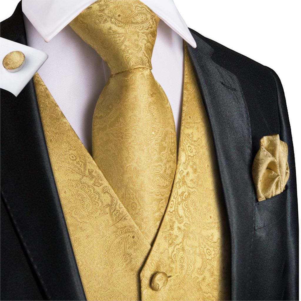 Men's Gold Jacquard Paisley Vest Set 2019 New Elegant Men Wedding Party Waistcoat for Suit Tuxedo Necktie Pocket Square MJ-0009