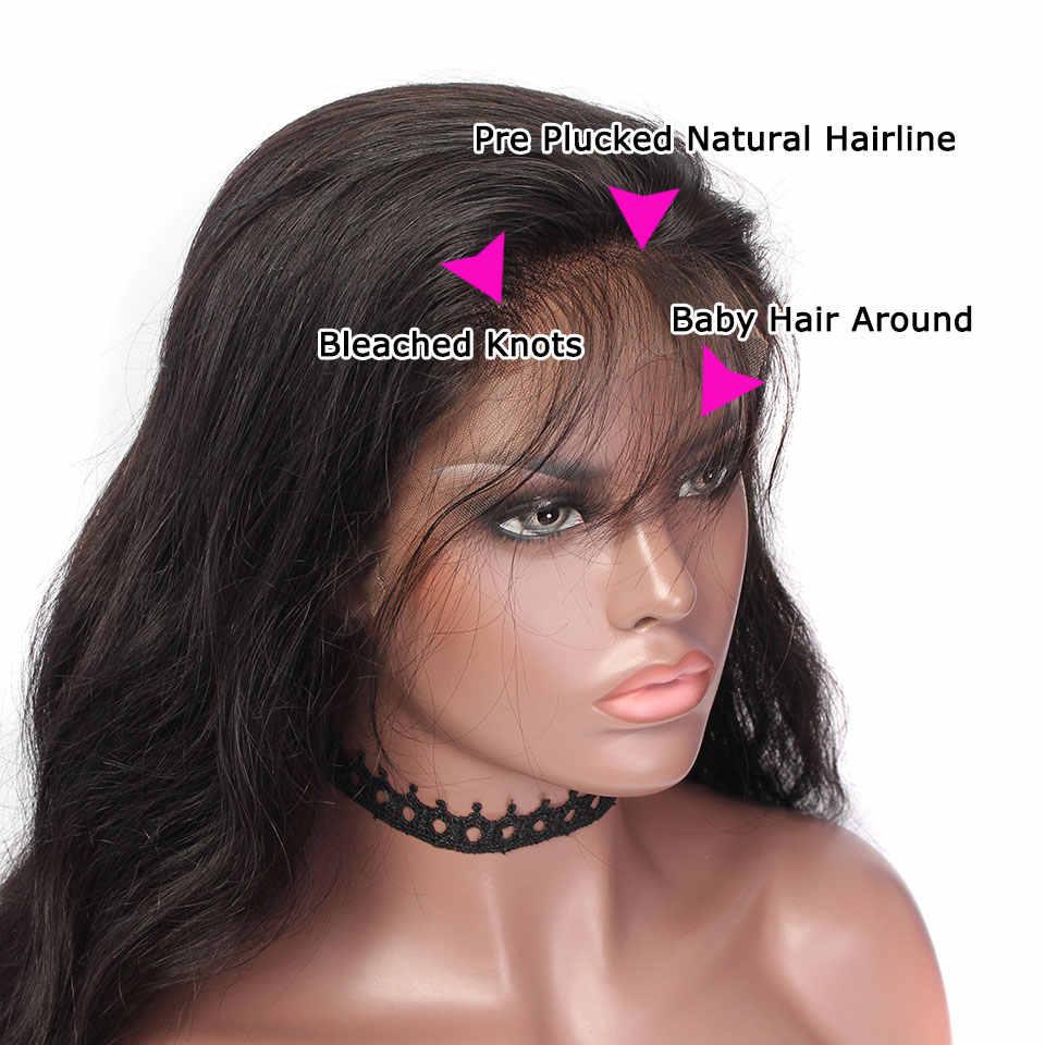 YVONNE 360 парик с фронтальной шнуровкой предварительно сорвал с волосами младенца девственницы парики с волнистыми волосами для черных женщин естественного цвета
