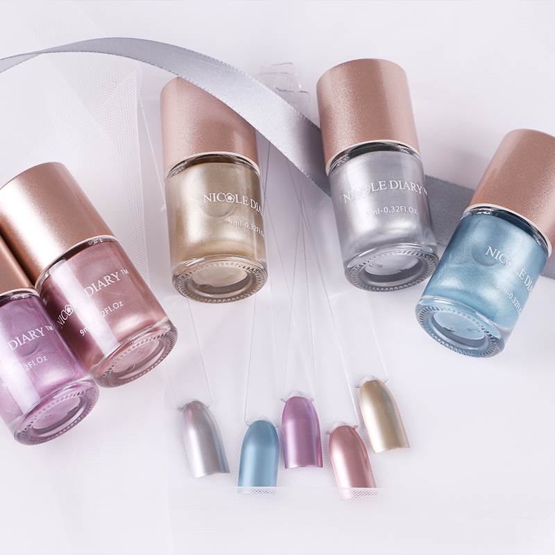 Metallic Gold Nail Polish: Aliexpress.com : Buy NICOLE DIARY Metallic Nail Polish