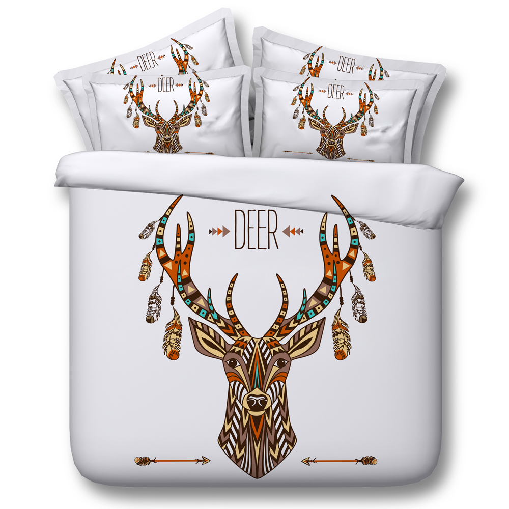 deer bed cover bedding set christmas print california king size duvet cover queen twin sheets bed in a bag sheet bedspread linen - Christmas Sheets Twin