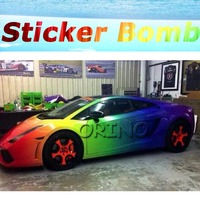 High quality Rainbow Gradient Color StickerBomb Vinyl Wrap With Air Bubble Free For Car Wrapping Decals Sticker Bomb Film
