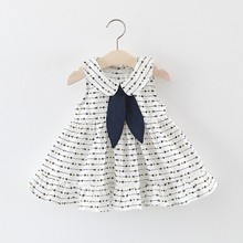 цена на Summer Casual Baby Girls Dress Casual Sleeveless Print Dress Cotton Kids Toddler Newborn Baby Girl Sundress 6M-3T