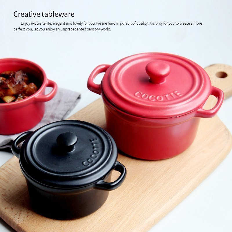 Ceramic Casserole Stew Soup With Lid  1