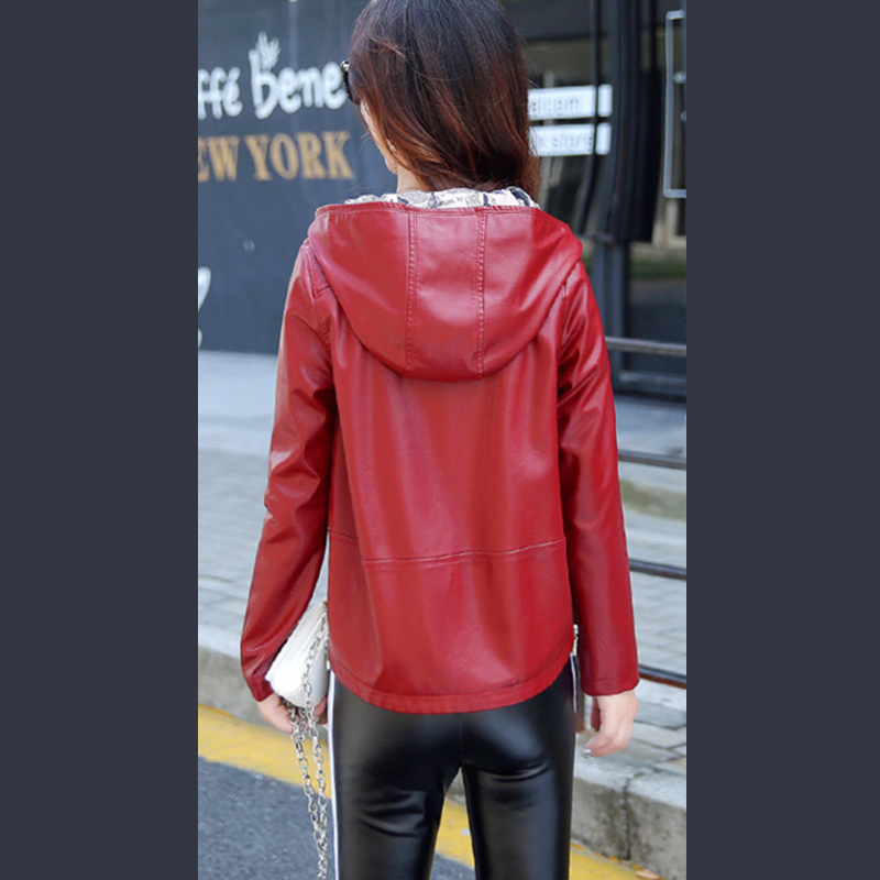 2018 Spring Autumn New PU Leather Women Jacket Short Haining Washed Leather Hooded Tops Female Fashion Loose Outwear Coat ky205