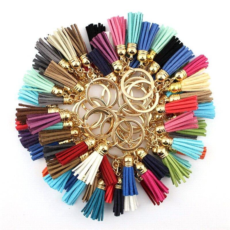 2018 New Fashion Casual Velvet Leather Tassel Women Keychain Bag Pendant Car Key Chain Ring Holder Trendy Jewelry Wholesale