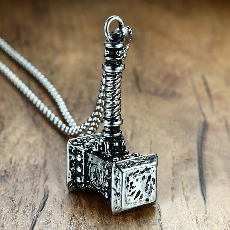 Mens Solid Viking Thors Hammer Pendant Necklace Stainless Steel Vintage Mjolnir Norse Jewelry vintage ivory decorated carving stainless steel pendant necklace
