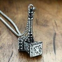 Mens Katı Thors Hammer Kolye Kolye Paslanmaz Çelik Vintage Mjolnir Viking İskandinav Takı