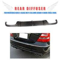 Углеродное волокно задний диффузор для губ бампера крыло для Mercedes Benz e класс W211 E55 AMG седан 4 дверь 2002 2006