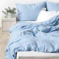 Синие воды 100% французский льняное постельное белье пододеяльник постельного белья 3 шт./лот Розовый лен Стёганое одеяло крышка