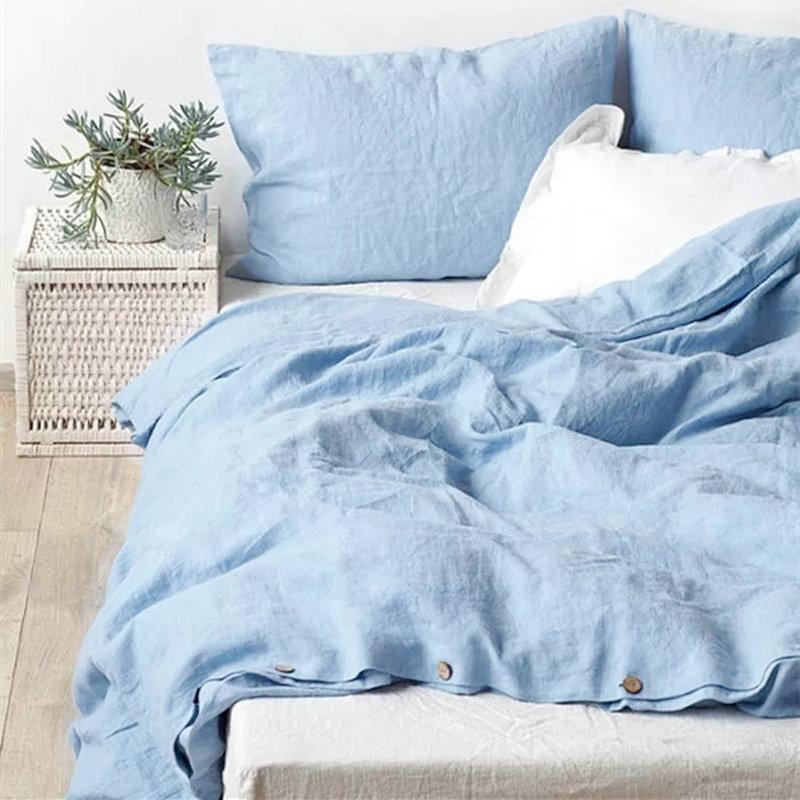 Water Blue 100 French Linen Duvet Cover Linen Bed Sets