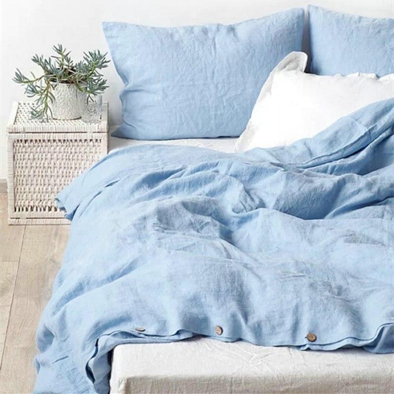 Water Blue 100% French Linen bedding Duvet Cover Linen Bed sets 3pcs/lot Pink Linen Quilt cover