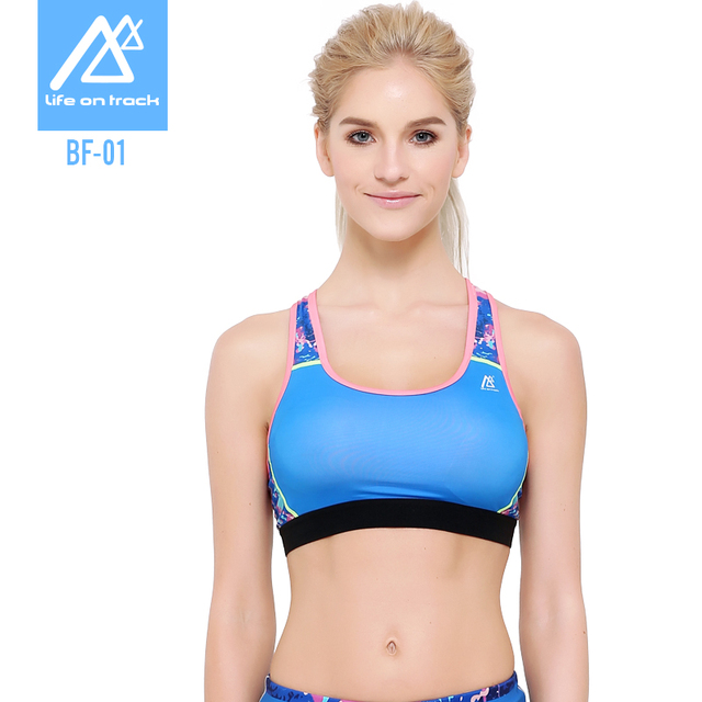 Life On Track Women Fitness Bra For  Gym Shakeproof Underwear Push Up Seamless Top Bras