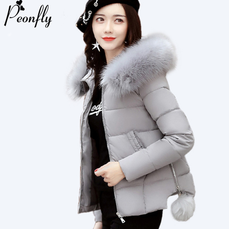 PEONFLY Plus Size 3XL Female Coat Autumn With Fur Collar Hooded Cotton Padded Winter   Jacket   Women Short Outwear   Basic     Jacket