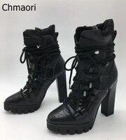 Осень новинка 2017 года Элитный бренд женский, черный 130 мм из бечёвки Кружево на шнуровке кожаные ботильоны на платформе на высоком каблуке П...