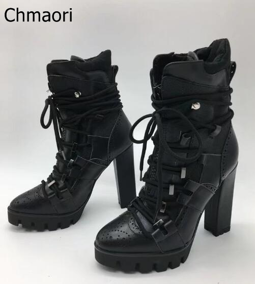 Fall 2017 New Luxury Brand Women Black 130 mm Rope Lace-up Leather Platform Ankle Boots High Heel Short Booties Size 35-42 daidifen 2017 autumn winter women ankle boots high heels lace up leather double buckle platform short booties new plus size 48