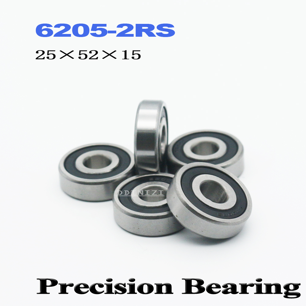 6205RS Bearing ABEC-3 25x52x15 Mm Deep Groove 6205-2RS Ball Bearings 6205RZ 180205 RZ RS 6205 2RS EMQ Quality (2 PCS)