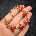 3.8*6.0mm clássico fine jewelry 925 sterling silver natural red coral pulseira mulheres pulseiras
