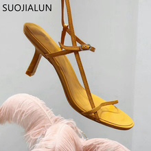 цены SUOJIALUN 2019 New Women's Sandals Brand Open Toe Gladiator Thin High Heels Sexy Summer Sandals Ladies Slides Party Shoes