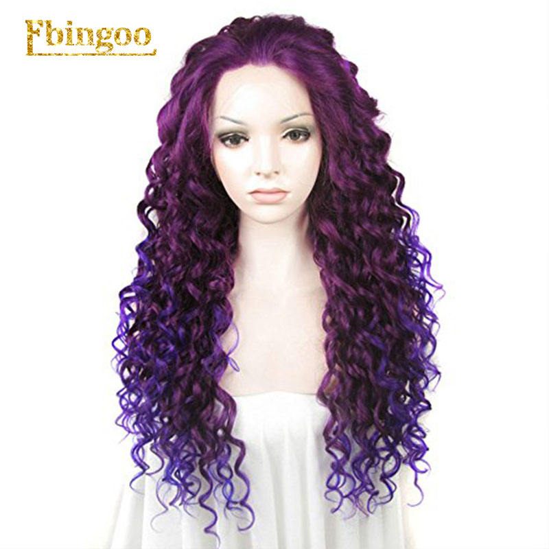 Ebingoo Ombre Purple Red Pink Blonde Brown Orange Wig Long Kinky Curly Synthetic Lace Front Wig Women High Temperature Fiber