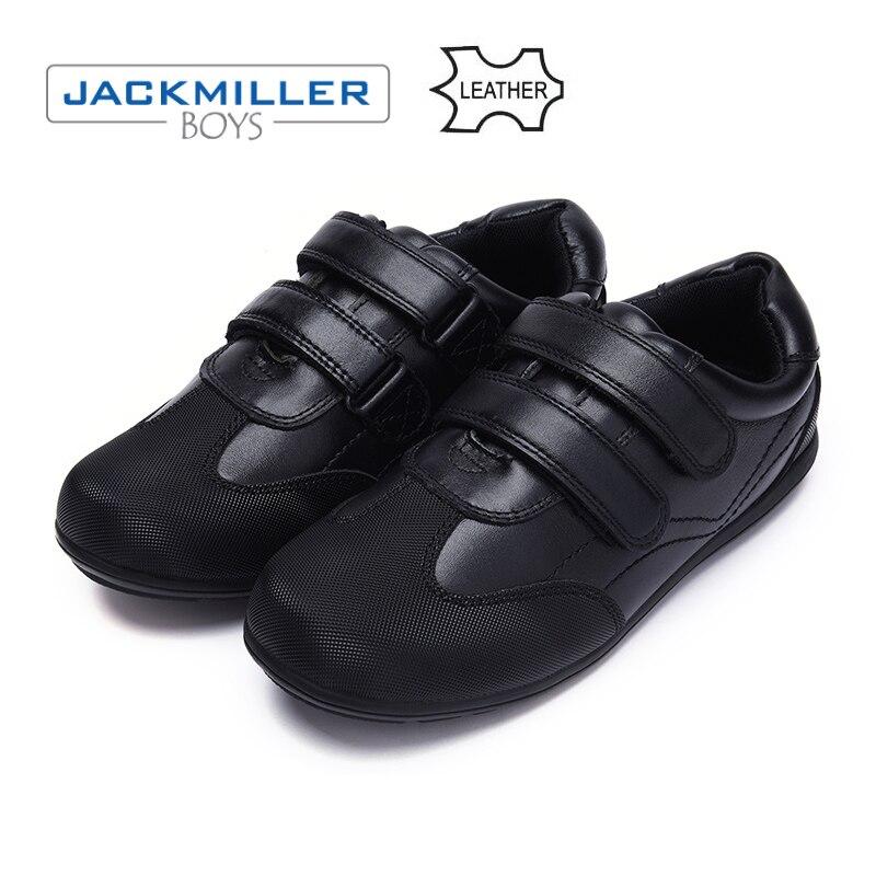 Jackmillerboys школьников обувь из натуральной кожи детская обувь для мальчиков модельная обувь на плоской подошве черные осенние размер 31-40