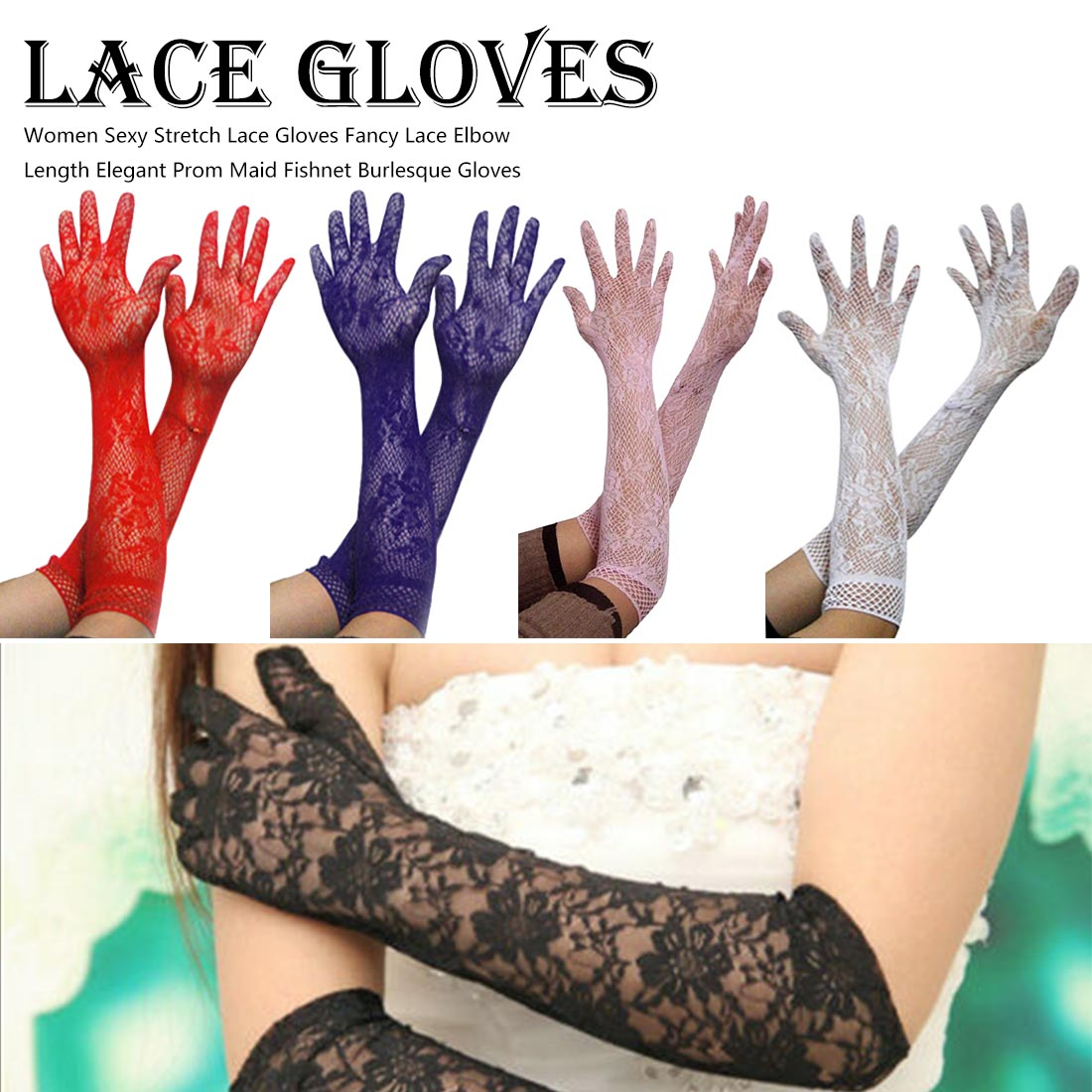 Elegant Prom Maid Fishnet Burlesque Gloves Women Sexy Stretch Lace Gloves Fancy Lace Elbow Length