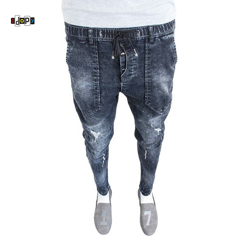 Idopy Fashion Mens Vintage   Jeans   Cuffed Vintage Elastic Washed Drawstring Denim Trousers Hips Hop   Jean   Joggers For Men