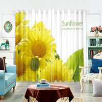 Modern style Bedroom Blackout Curtain 3d Yellow Sunflower Magnolia Flower Pattern Velvet Fabric Tulle Curtain for Living Room