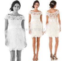 Free Shipping Short Wedding Dresses Lace Sheath Sweetheart Applique Sleeves Sheer Bridal Gowns yk1A339