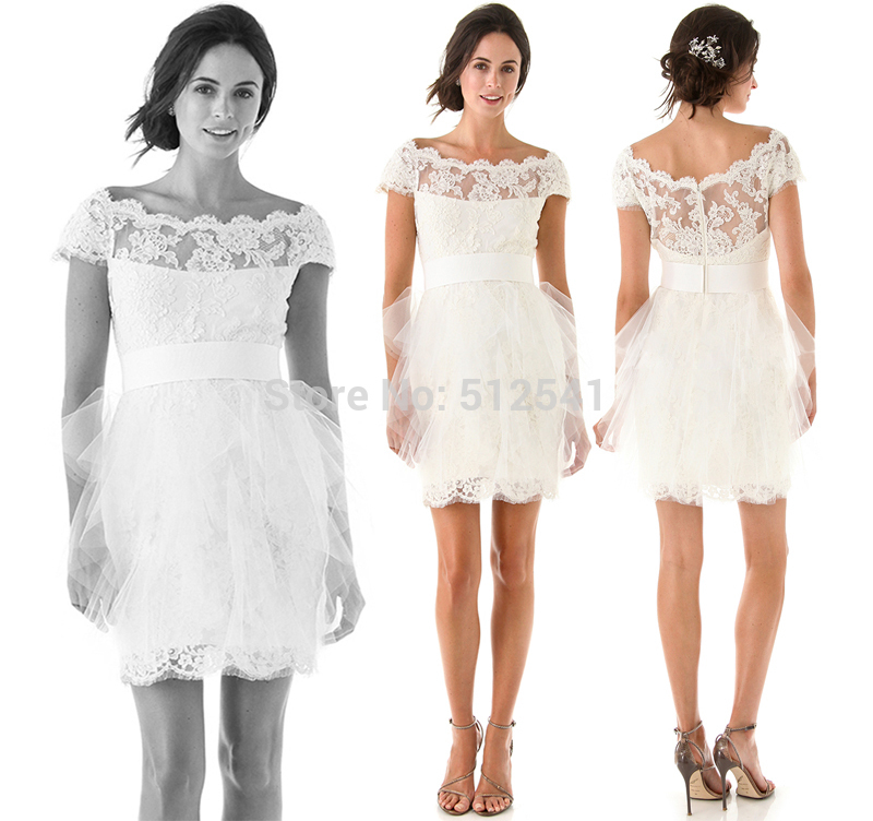 Free Shipping Short Wedding Dresses Lace Sheath Sweetheart Applique Short Sleeves Sheer Bridal Gowns 2019 robe de mariee