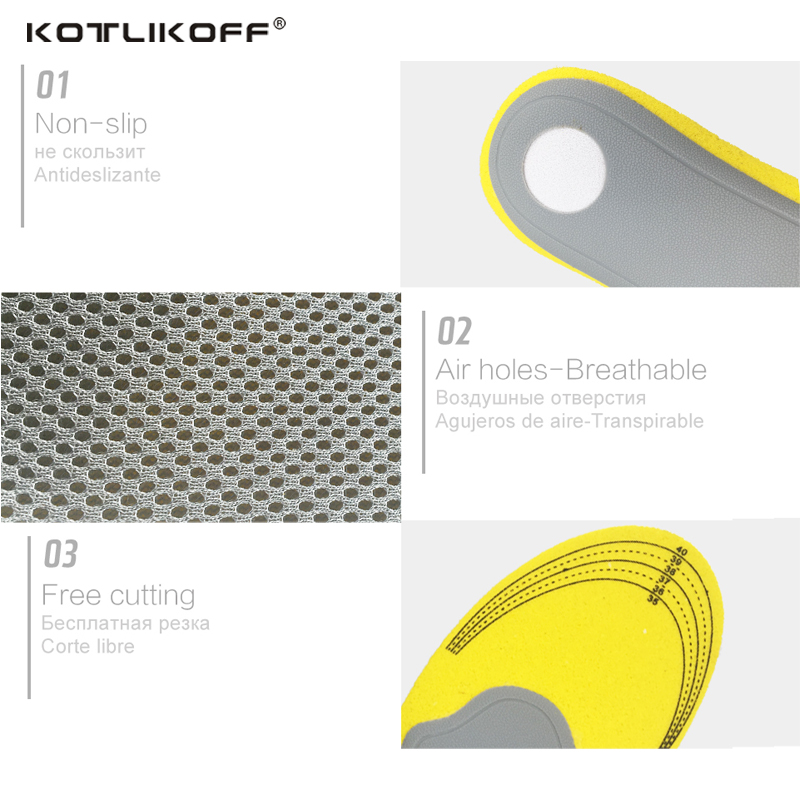 KOTLIKOFF Foam+TPR Arch Support Breathable Shock Absorption Cushion Sport Orthopedic Insoles for Shoes Woman Men Shoe accessorie