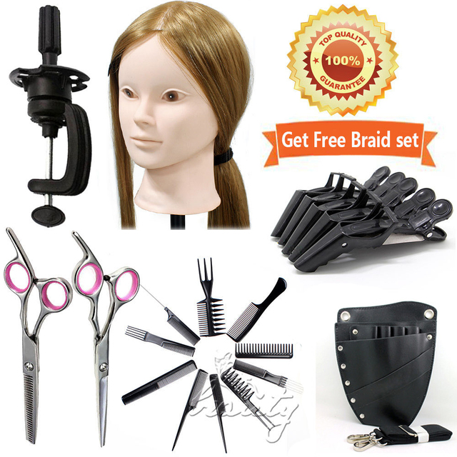 "2 Usage Training Head 24"" 50%Real Hair for College Makeup Doll +Salon Tools Kits"
