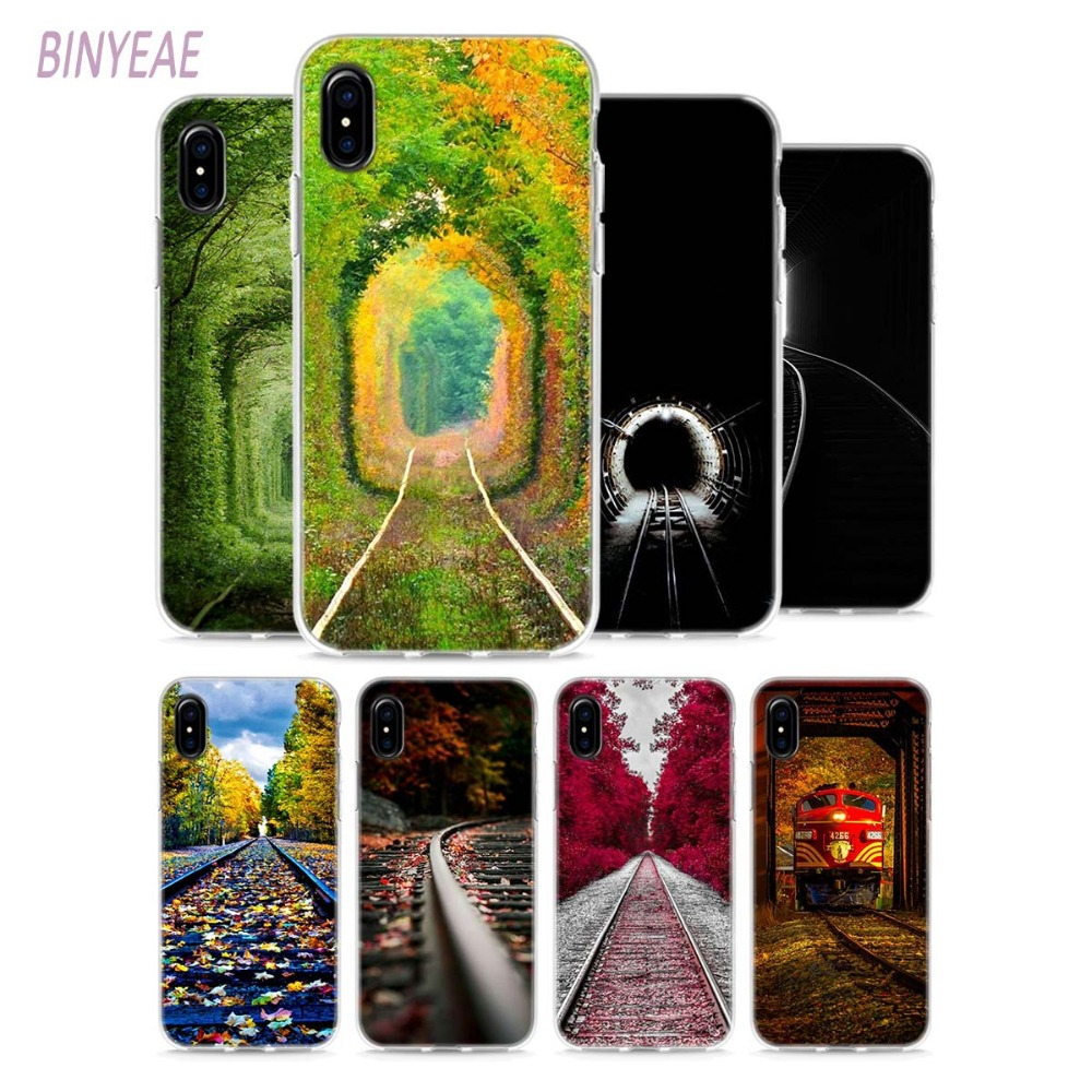 BINYEAE The railway A train for spring Style Clear Soft TPU Phone Cases for Apple iPhone X 8 7 6 6s Plus 5 5S SE 5C