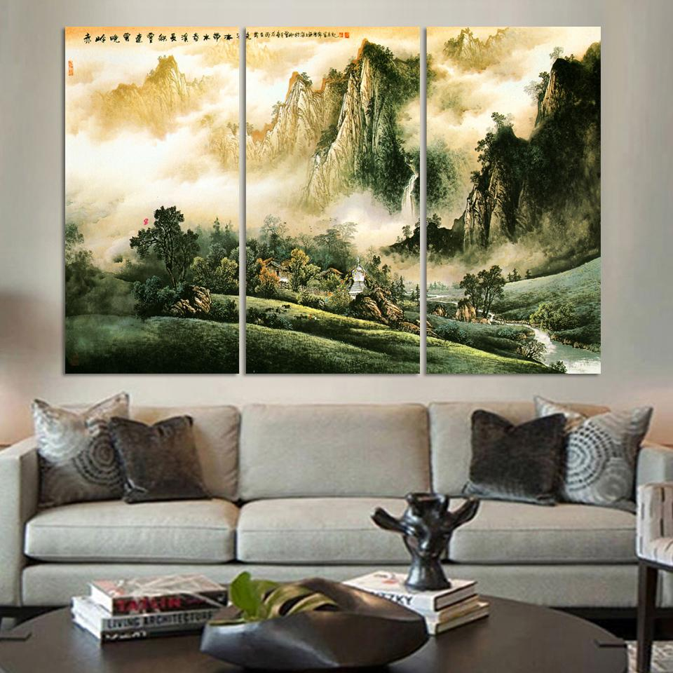 Pcs chinese traditional landscape oil painting print on