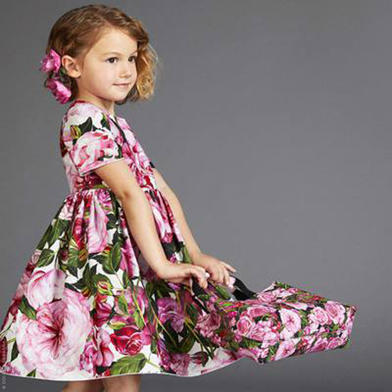 Girls Dresses for Party and Wedding 2017 Brand Summer Dress Princess Costume Rose Kids Dress for Girls Toddler Clothes girls dresses for party and wedding 2017 summer dress bow beads princess costume kids clothes for 2 6years old children y0067