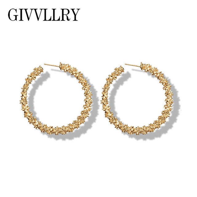 0eded56c923ce8 GIVVLLRY Elegant Hoop Earrings for Women Vintage Gold Silver Color Hammered  Metal Carved Big Round Earrings