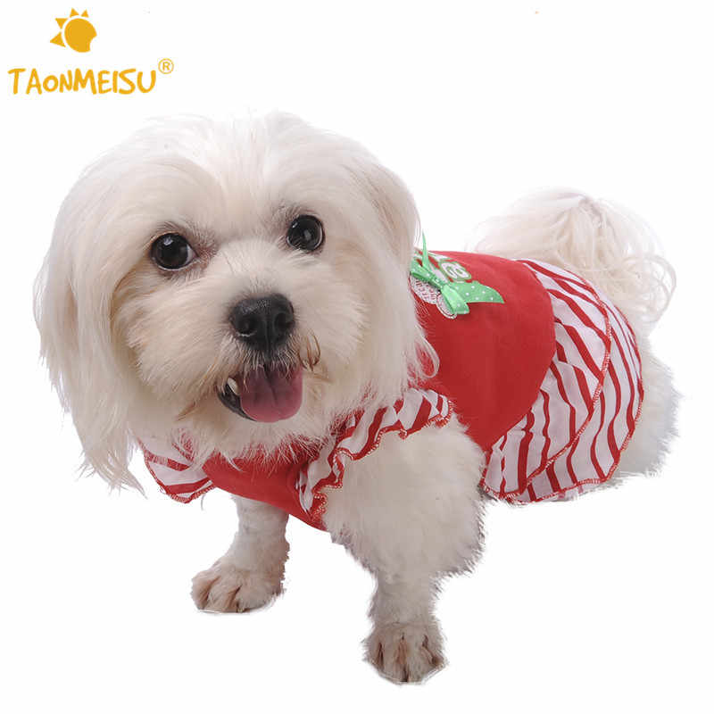 TAONMEISU Pet Dog Cat Dress Red Cute Santa's Favorite Christmas Skirts For Puppy Striped Costume Dresses