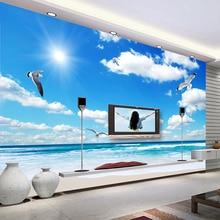 Custom Wall Mural Wallpaper Blue Sky White Clouds Sunshine Beach Maldives Sea