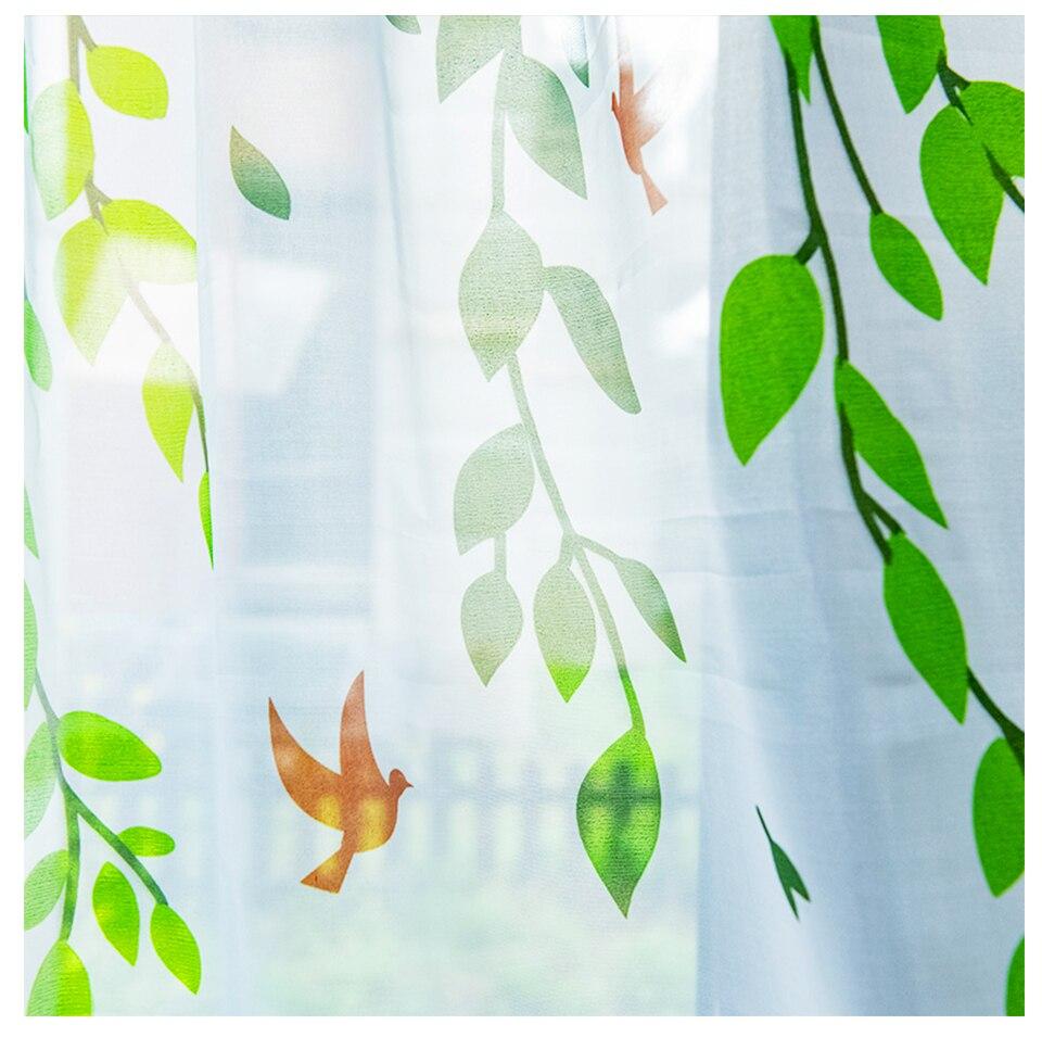de estar quarto pássaro impresso voile sheer cortinas para janela tule