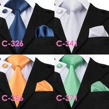 Solid Silk Men Ties Neck Tie Set for Men Suit Tie Handkerchief Cufflinks Gravatas Ties for Men Wedding