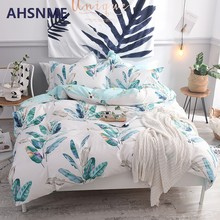 AHSNME 100% Cotton Bedlinen Nordic bedclothes bedcover Spring/Summer Season Banana Leaf Duvet Cover Pillowcase King Bedding set(China)
