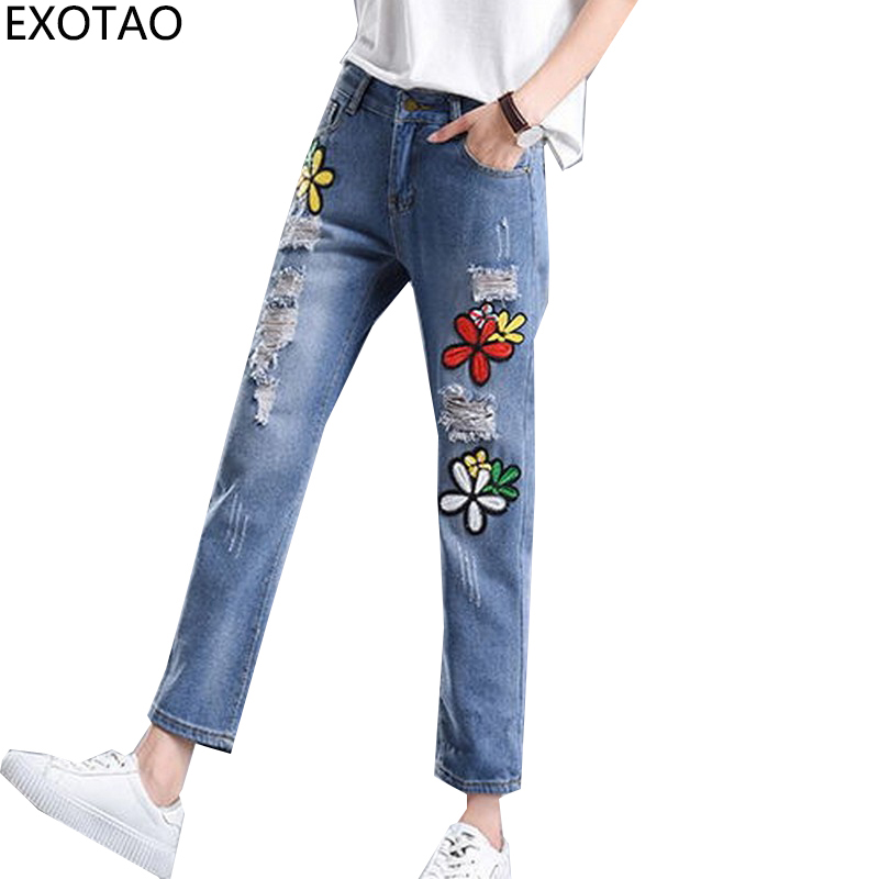 EXOTAO New Flower Embroidery Denim Jeans for Women Fashion Hole Vaqueros Mujer Autumn Harem Pants Loose Ankle-length Jeans street style hole jeans womens slim denim pants fashion 2017 loose harem pants new spring summer wild jeans pantalones vaqueros