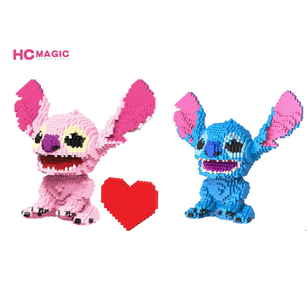 HC Magic Blocks Cartoon Auction Figures Stitch brinquedo Cute Anime Model Building Bricks Kids Toys educational Gifts for Girl hc big size super mario micro blocks stitch micro blocks diy building toys cute cartoon juguetes auction figures kids gifts 9003