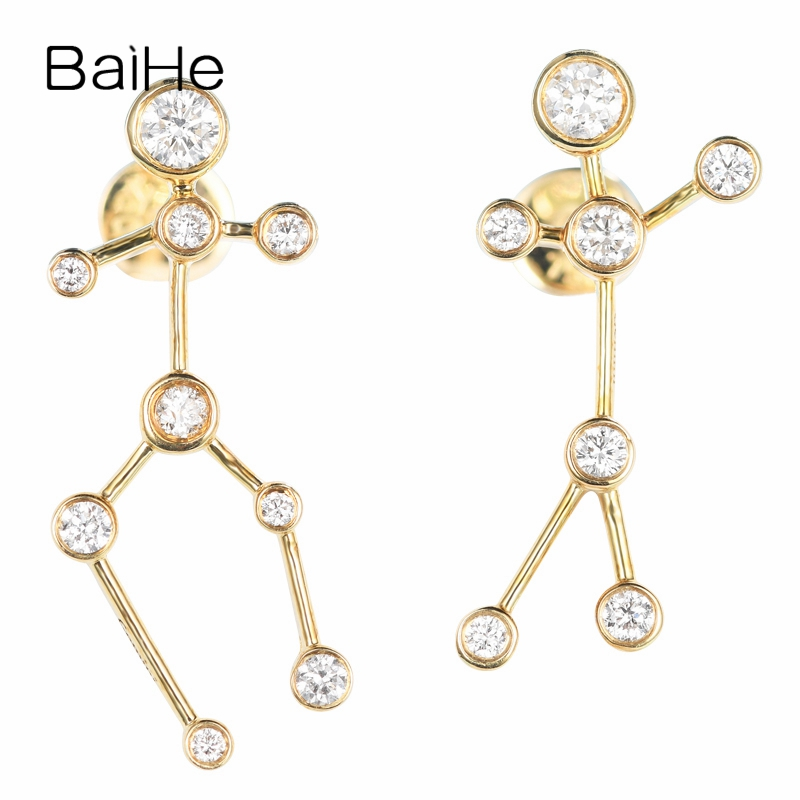 BAIHE Solid 14K Yellow Gold 0.30CT H/SI Round 100% Genuine Natural Diamonds Engagement Trendy Fine Jewelry Elegant Stud Earrings цена